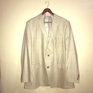 Calvin Klein SILK WOOL SIZE 44 L TAN SUIT JACKET